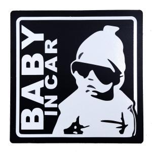 赤ちゃん乗車中 BABY IN CAR マグネット 外貼り ステッカー 12cm角 ブラック 黒 赤...