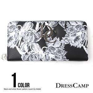 ドレスキャンプ DRESS CAMP 財布 モノクロフラワーパターンラウンドジップウォレット 長財布 メンズ レディース|upper-gate