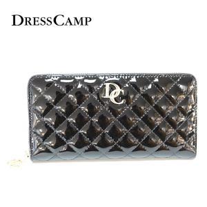 DRESS CAMP ドレスキャンプ エナメルキルトラウンドジップウォレット 長財布 ブラック サイフ メンズ レディース|upper-gate