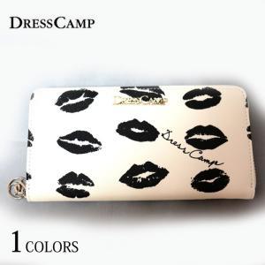 DRESSCAMP ドレスキャンプ モノトーンリップ柄ラウンドジップウォレット 長財布 メンズ レディース|upper-gate
