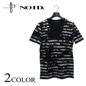 NOID ノーアイディー C天竺クラックボーダーV/N-T 半袖 メンズ Tシャツ Vネック ボーダーTシャツ