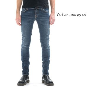 nudie jeans ヌーディージーンズ LONG JOHN TELEVISION BLUE NUDIE JEANS タイトロングジョン スキニー|upper-gate