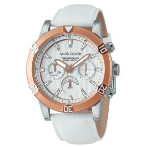 1年保証 正規品 Angel Clover エンジェルクローバー Brio ブリオ アクティブウォッチ 逆回転防止 革ベルト ホワイト ピンクゴールド メンズ 腕時計|upper-gate