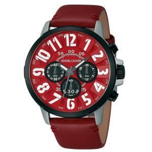 1年保証 正規品 Angel Clover エンジェルクローバー バンプ 腕時計 メンズ ウォッチ 革ベルト レッド 10気圧防水|upper-gate