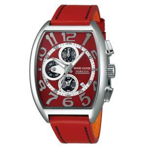1年保証 正規品 Angel Clover エンジェルクローバー ダブルプレイ 腕時計 メンズ ウォッチ 革ベルト レッド|upper-gate