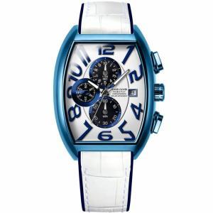 1年保証 正規品 Angel Clover エンジェルクローバー ダブルプレイソーラー ホワイト ブルー 腕時計 メンズ ウォッチ 革ベルト|upper-gate