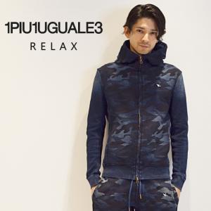 1PIU1UGUALE3 RELAX ウノピゥウノ ウグァーレトレ リラックス カモフラージュ柄 カノコ パーカ メンズ パーカー ウノピュウ 1PIU|upper-gate
