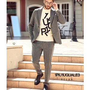 1PIU1UGUALE3 RELAX ウノピゥウノウグァーレトレ 総柄ロゴジャケット&パンツセット 上下セット セットアップ メンズ  スーツ 秋冬 きれいめ おしゃれ|upper-gate