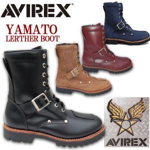 【AVIREX】★送料無料★AV2100 YAMATO ヤマト レザー エンジニア サイドジップブー...