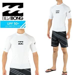 SALE ビラボン ラッシュガード 半袖 白 メンズ ロゴプリント シンプル BILLABONG AH011850 WHT|upsports