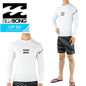 SALE ビラボン ラッシュガード 長袖 白 メンズ ロゴプリント シンプル BILLABONG AH011851 WHT|upsports