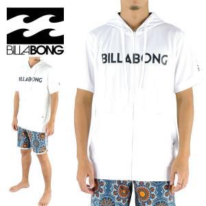 ビラボン メンズ 半袖ラッシュガード ジップアップ フード付き ロゴプリント BILLABONG AH011857|upsports