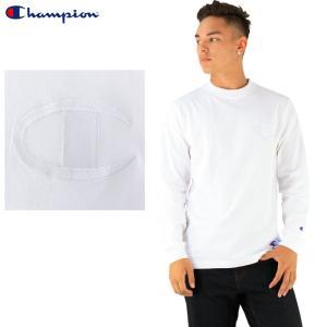 チャンピオン ビッグロゴ ロンT 白TEE 長袖Tシャツ メンズ CHAMPION BIG LOGO TEE ロゴ刺繍 C3-L422 スポーツTシャツ ロゴTシャツ 2017年モデル 即納 通販|upsports