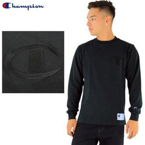 チャンピオン ビッグロゴ 長袖Tシャツ 黒 Tシャツ メンズ CHAMPION BIG LOGO TEE ロゴ刺繍 C3-L422|upsports