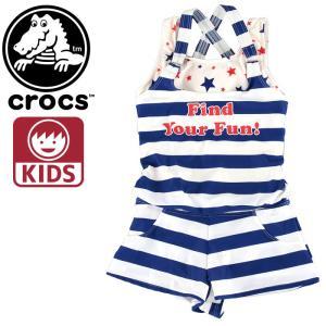 クロックス キッズ crocos 127743 女の子用水着 サロペット インナーボックスパンツ ボーダー ガールズ|upsports