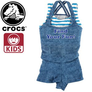 クロックス キッズ crocos 127743 女の子用水着 サロペット インナーボックスパンツ ボーダー ガールズ かわいい CROCS クロックス 人気サンダルブランド|upsports
