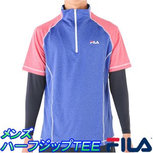 フィラ 半袖ハーフジップTシャツ メンズ インナーSET FILA 445-322 ランニングシャツ 即納|upsports