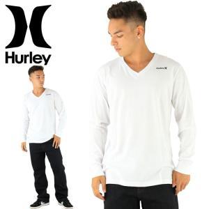 HURLEY メンズTシャツ MTLSOAOVP ホワイト 男性用 長袖 ロゴ 白 ハーレー ロングTシャツ ブイネック メンズロンティー 長そでTシャツ Vネック 通販 販売 即納|upsports