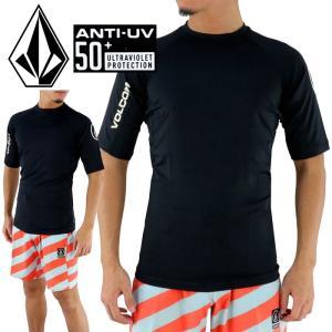ボルコム 半袖ラッシュTシャツ ラッシュガード VOLCOM N0111700 LIDO SOLID S/S 黒 UPF50+ UVカット|upsports