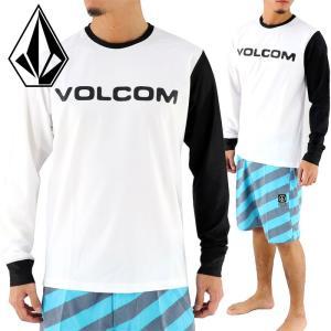 ボルコム 長袖ラッシュTシャツ ラッシュガード メンズ ロンT 白 VOLCOM N03117JA BRAND LOGO LS SURF TEE|upsports