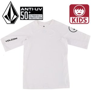 ボルコム UPF50+ 半袖ラッシュTシャツ ラッシュガード 紫外線対策 UVカット VOLCOM LIDO S/S Y9111700 白|upsports