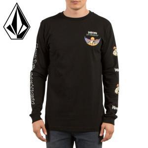 ボルコム メンズロンT 黒 袖プリント スカルプリント ブラック ロングスリーブTシャツ VOLCOM A3631704|upsports
