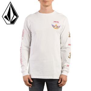 VOLCOM 袖プリント ロンTEE 長袖Tシャツ 白 ボルコム スカルロゴ プリントTシャツ ホワイト A3631704|upsports