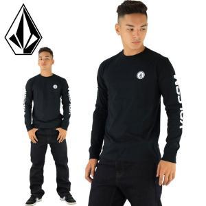 VOLCOM メンズロンT 袖プリント ボルコム 長袖Tシャツ A36317JA 黒 ロゴプリント ロングスリーブ|upsports