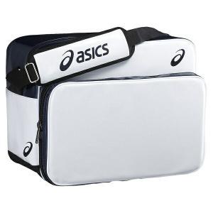 ◆◆ 【アシックス】 ASICS エナメルゲームバッグ BEA470 (0150:ホワイト×ネイビー)  スポーツアパレル スポーツバッグ ショルダーバッグ(bea470-0150-mkn-asb|upstairs