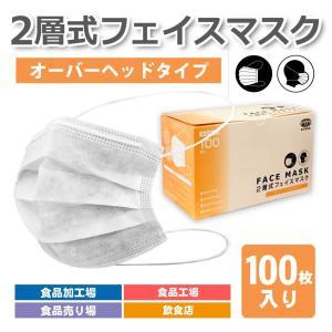 2層マスク 頭掛け 100枚入り オーバーヘッドタイプ 食品工場など用 男女兼用|uqlife