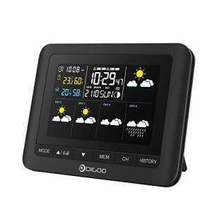 温湿度計 DIGOO 気象計 ワイヤレス 5日天気予報 カラーフル デジタル クリーン 無線 卓上カレンダー スヌーズ アラーム 月相 3セ|urarakastr