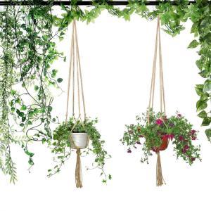 Bestgle 3ピース鉢プラントハンガー 植物ハンガーネット テラコッタ鉢 アイスプラント種 鉢吊るす マクラメ 麻縄 植木鉢 観葉植物|urarakastr