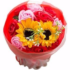 フレグランス ソープフラワー シャボンフラワー 夏にぴったり ひまわり&ローズ 花束 ブーケ FPP-808 (レッド)|urarakastr