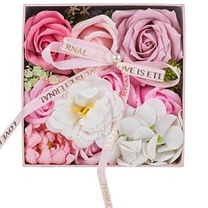 UINI BEST フラワーソープ 石鹸の花 ソープフラワー 枯れないお花 プレゼント 花 母の日 花束… (円形 ピンク)|urarakastr