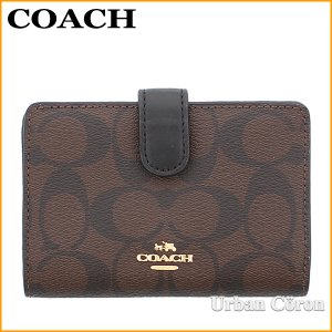 f67acab110c7 コーチ 財布 二つ折り COACH F23553 ブラウン×ブラック シグネチャー PVC レザー ミディアム コーナー ジップ ウォレット