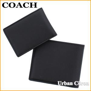 5084fc4970c2 ... コーチ 財布 二つ折り パスケース キーホルダー COACH F64118 ブラック レザー二つ折りコンパクト ID ウォレット ...