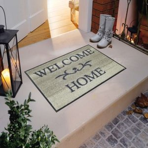wash+dry(ウォッシュアンドドライ) Welcome Home beige 洗えるデザインマット  500×750(mm) A003A|ureshii-office