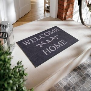 wash+dry(ウォッシュアンドドライ) Welcome Home anthrazit 洗えるデザインマット 500×750(mm) A004A|ureshii-office