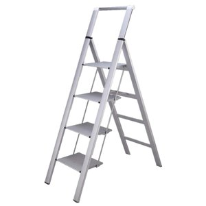 ONE STEP (手すり付き4段)スタイリッシュ 脚立 アルミ 薄型踏み台 踏み台 折りたたみ おしゃれ 軽量 折りたたみ脚立 ステップ台 ステップラダー はしご 梯子|ureteq