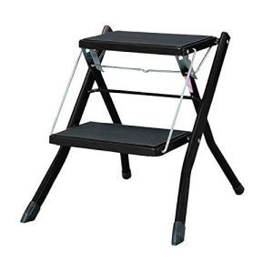 ONE STEP  (ブラック)ステップ台 アシスト 踏み台 折りたたみ 脚立 ステップスツール 2段 滑り止め付 ブラック ゴム手袋付き!|ureteq