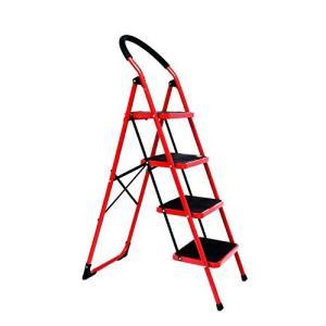 ONE STEP  (4段 赤色)踏み台 脚立 踏み台 折りたたみ 今ならゴム手袋 ブラシ&雑巾 プレゼント実施中 おしゃれ 軽量 折りたたみ脚立 持ち手付き ステップ台|ureteq