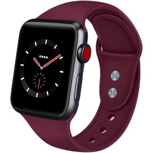 AIGENIU コンパチブル Apple Watch バンド、ダブルボタンシリコン柔らかいアップルウ...