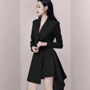 韓国 ファッション レディース 韓国 パーティードレス お呼ばれワンピース 秋 冬 春 セクシー 20代 30代 40代 2020 アシンメトリー キレセクの画像