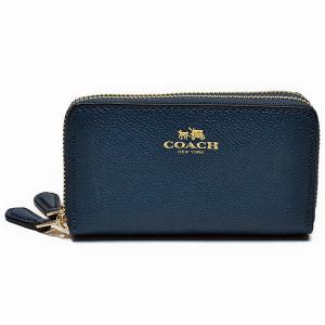 コーチ COACH 財布 小銭入れ F57855 IMLHE クロスグレイン レザー ダブルジップ コインケース マリーナブルー|uruzz