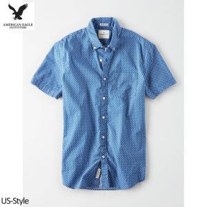 アメリカンイーグル メンズ 半袖シャツ プリント ブルー A...