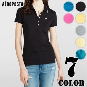 エアロポステール レディース ポロシャツ 無地 A87 Solid Tipped-Collar Pique Polo us-style
