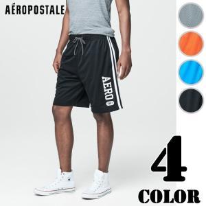 エアロポステール メンズ アクティブパンツ スポーツ Aero 1987 Side Stripe Mesh Athletic Shorts(9568)|us-style