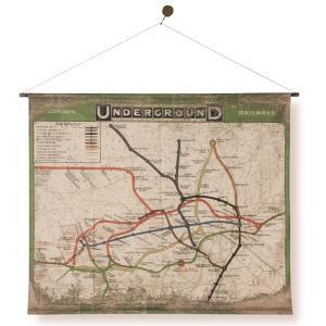 タペストリー 壁掛け おしゃれ アンティーク レトロ 古い 加工 路線図 地図 イギリス ロンドン ...