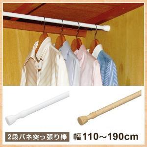 2段バネ内蔵で弾力性を高め、しっかり設置できる突っ張り棒です。 狭い範囲の取り付けから広い範囲の取り...