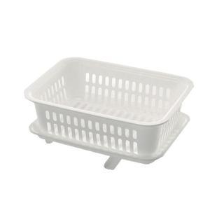 水切りカゴ シンクに流せるトレー付き レイ プラスチック製|usagi-shop